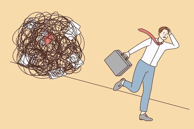 Estresse, sobrecarga, esgotamento no conceito de trabalho. personagem de desenho animado jovem empresário estressado fugindo de um círculo caótico e desordenado de deveres.