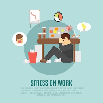 Estresse, trabalho, apartamento, ícone