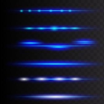 Estrias brilhantes. alargamentos horizontais azuis da lente