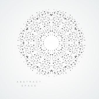 Estrutura abstrata de círculo. pontos e linhas conectadas vetor