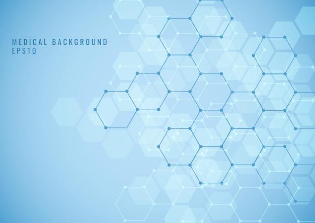 Estrutura abstrata do hexágono ciência médica fundo azul
