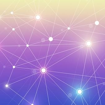 Estrutura da molécula com partículas. pesquisa médica científica. ciência e tecnologia backgroud. conceito molecular. ilustração.