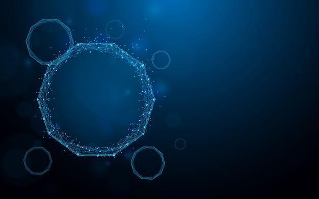 Estrutura da molécula para linhas de formas científicas, triângulos e design de estilo de partículas