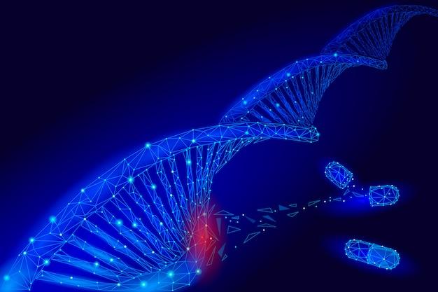 Estrutura da molécula química do dna da terapia genética 3d baixo poli. linha de ponto do triângulo poligonal