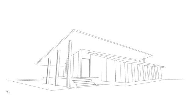 Estrutura de arame de arquitetura moderna, fundo arquitetônico abstrato, ilustração 3d
