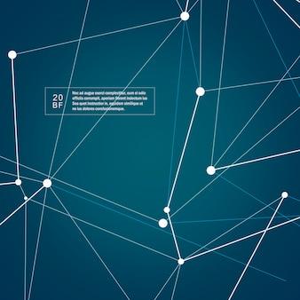 Estrutura de tecnologia abstrata moléculas com formas poligonais em fundo azul escuro