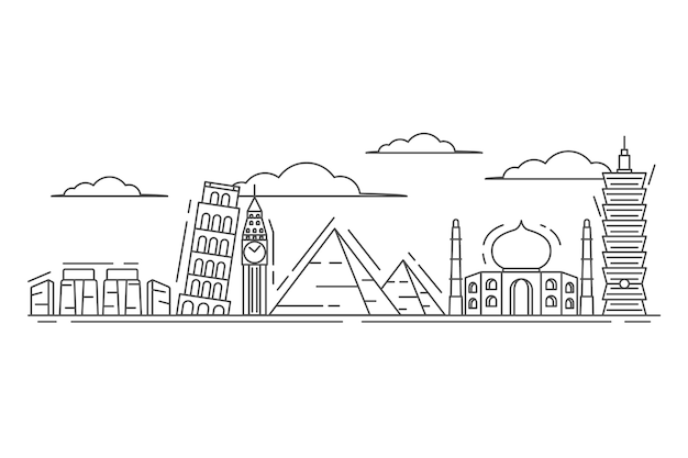 Estrutura de tópicos de contorno skyline estilo de desenho