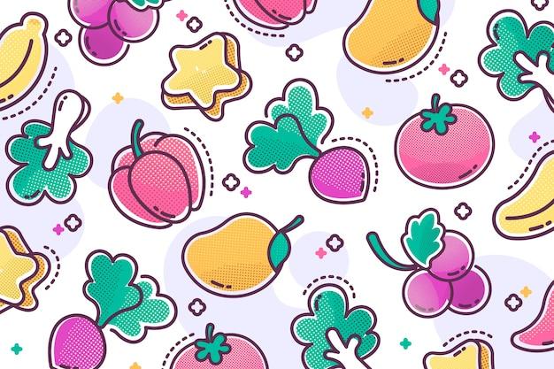 Estrutura de tópicos de frutas e vegetais