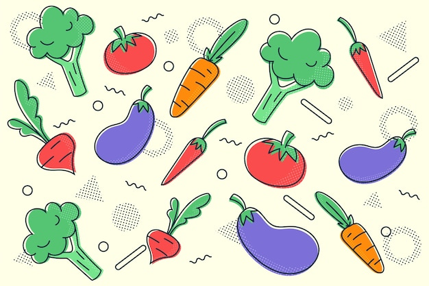 Estrutura de tópicos frutas e legumes fundo