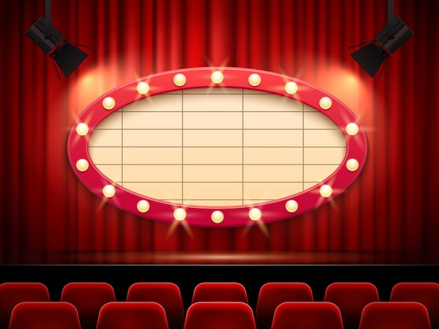 Estrutura do teatro iluminada por holofotes