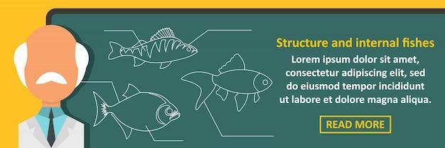 Estrutura e peixes internos banner conceito horizontal