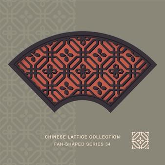 Estrutura em forma de leque em forma de leque de janela chinesa de flor de octógono