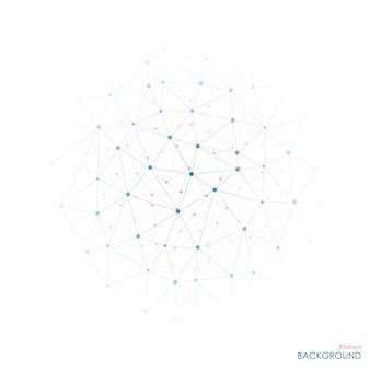 Estrutura geométrica abstrata, o escopo das moléculas azuis e rosa