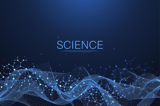 Estrutura molecular abstrata e fundo de engenharia genética, saúde e medicina. fundo de pesquisa científica. fluxo de ondas, padrão de inovação. ilustração vetorial.