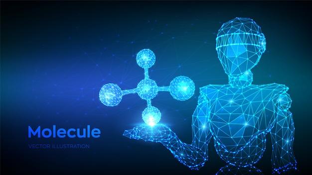 Estrutura molecular. dna, átomo, neurônios. abstrato 3d baixo robô poligonal segurando a molécula.