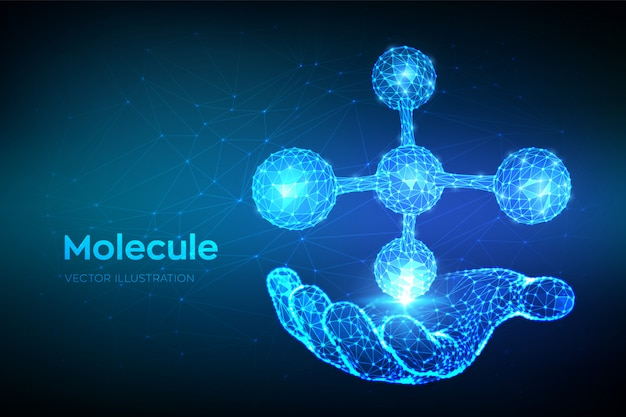 Estrutura molecular. dna, átomo, neurônios. molécula abstrata poligonal baixa na mão.