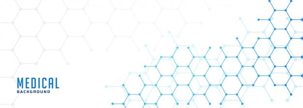 Estrutura molecular hexagonal de cuidados de saúde e banner médico