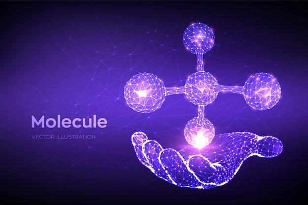 Estrutura molecular. molécula abstrata poligonal baixa na mão. dna, átomo, neurônios. moléculas e fórmulas químicas.
