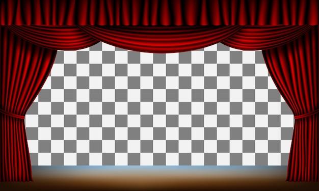 Estrutura transparente do palco com cortina vermelha