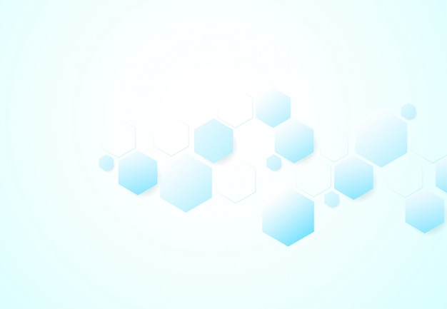 Estruturas moleculares hexagonais abstratas em fundo de tecnologia