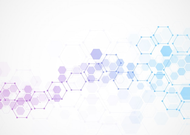 Estruturas moleculares hexagonais abstratas em tecnologia