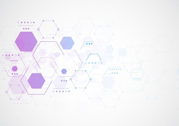 Estruturas moleculares hexagonais abstratas