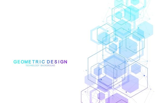 Estruturas moleculares hexagonais de fundo abstrato em estilo de fundo de tecnologia e ciência.