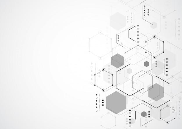 Estruturas moleculares hexagonais em fundo de tecnologia