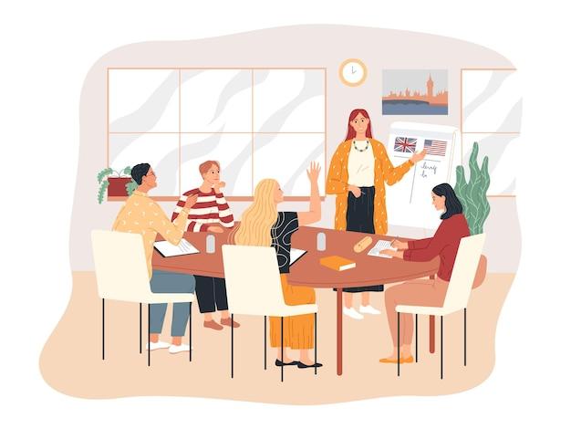 Estudando inglês. um professor de quadro branco explica o material de ensino aos alunos.