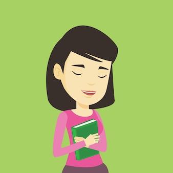 Estudante, abraçando o livro dela.