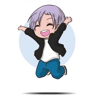 Estudante adolescente bonito salto feliz