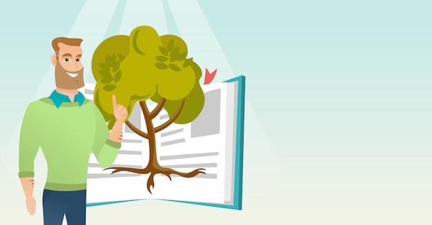 Estudante, apontando para a árvore do conhecimento.