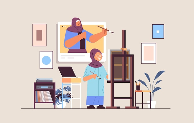 Estudante árabe com professora artista na janela do navegador da web pintura imagem durante a videochamada conceito de auto-isolamento oficina moderna interior ilustração vetorial horizontal de corpo inteiro