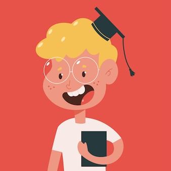 Estudante bonito na formatura boné personagem de desenho animado isolado