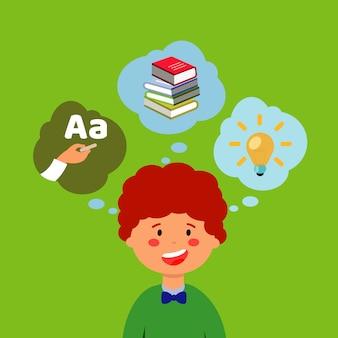 Estudante com cabelo rudy sobre fundo verde.