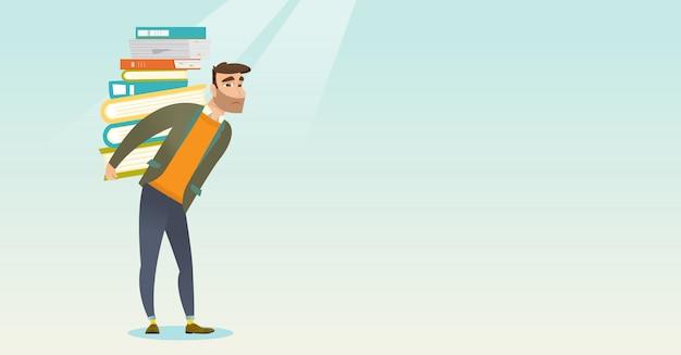 Estudante com pilha da ilustração do vetor dos livros.