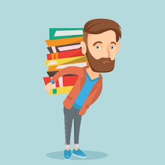Estudante com pilha de livros ilustração em vetor.