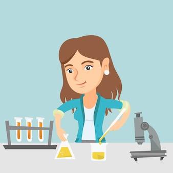 Estudante conduzindo experimento em aula de laboratório.