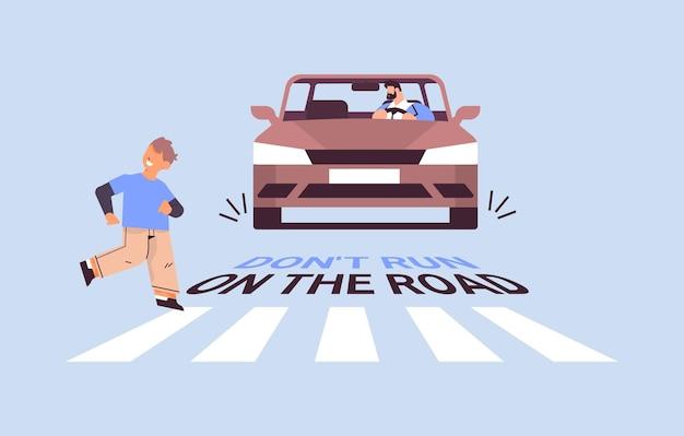 Estudante correndo na faixa de pedestres e o motorista para o carro imediatamente não corre na estrada