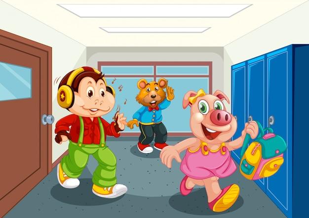 Estudante de animais no corredor da escola