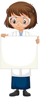 Estudante de ciência segurando cartaz isolado