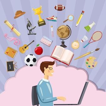 Estudante de conceito de educação, estilo cartoon