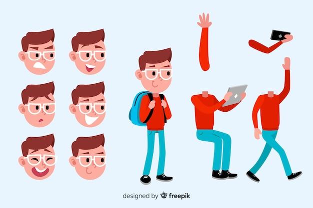 Estudante de desenho animado para design de movimento
