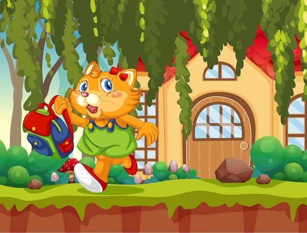 Estudante de gato indo para a escola