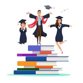 Estudante de graduação feliz pulando na pilha de livros
