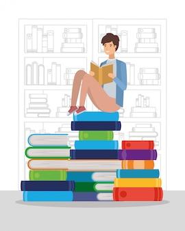 Estudante de homem lendo o personagem do livro