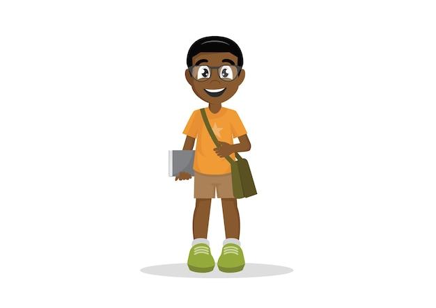 Estudante de livro de óculos de menino de escola africana.