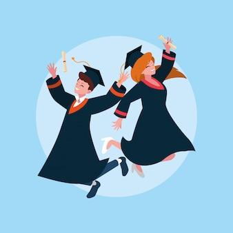 Estudante de menino e menina de graduação