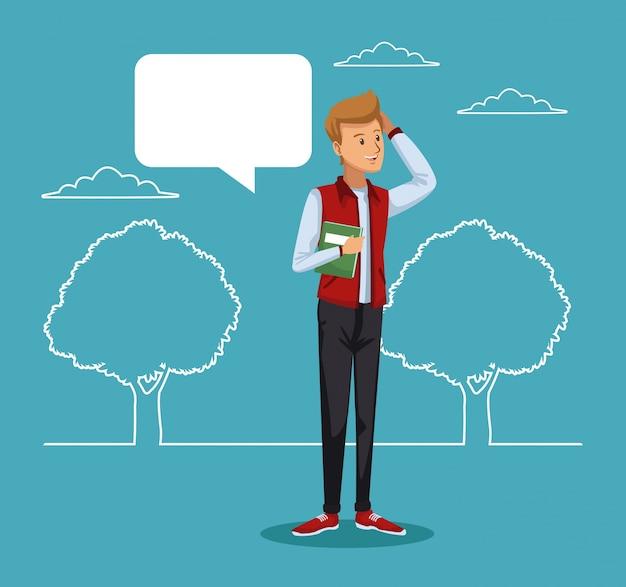 Estudante de paisagens e meninos de pé com caixa de diálogo