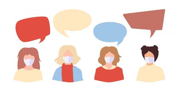 Estudante de pessoas em branco máscara médica. discurso bolha ícone diálogo discussão coronavírus
